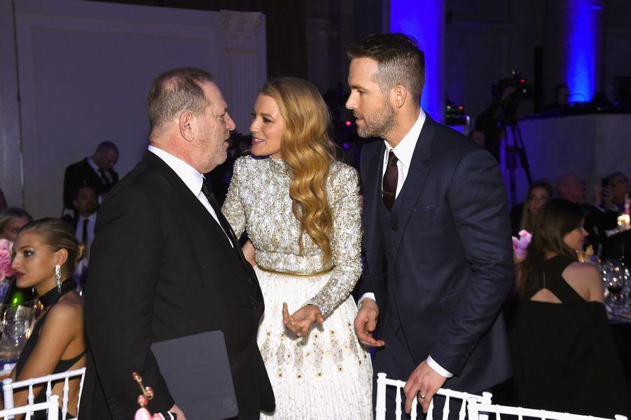 Harvey Weinstein, Blake Lively et Ryan Reynolds à New York le 10 février 2016