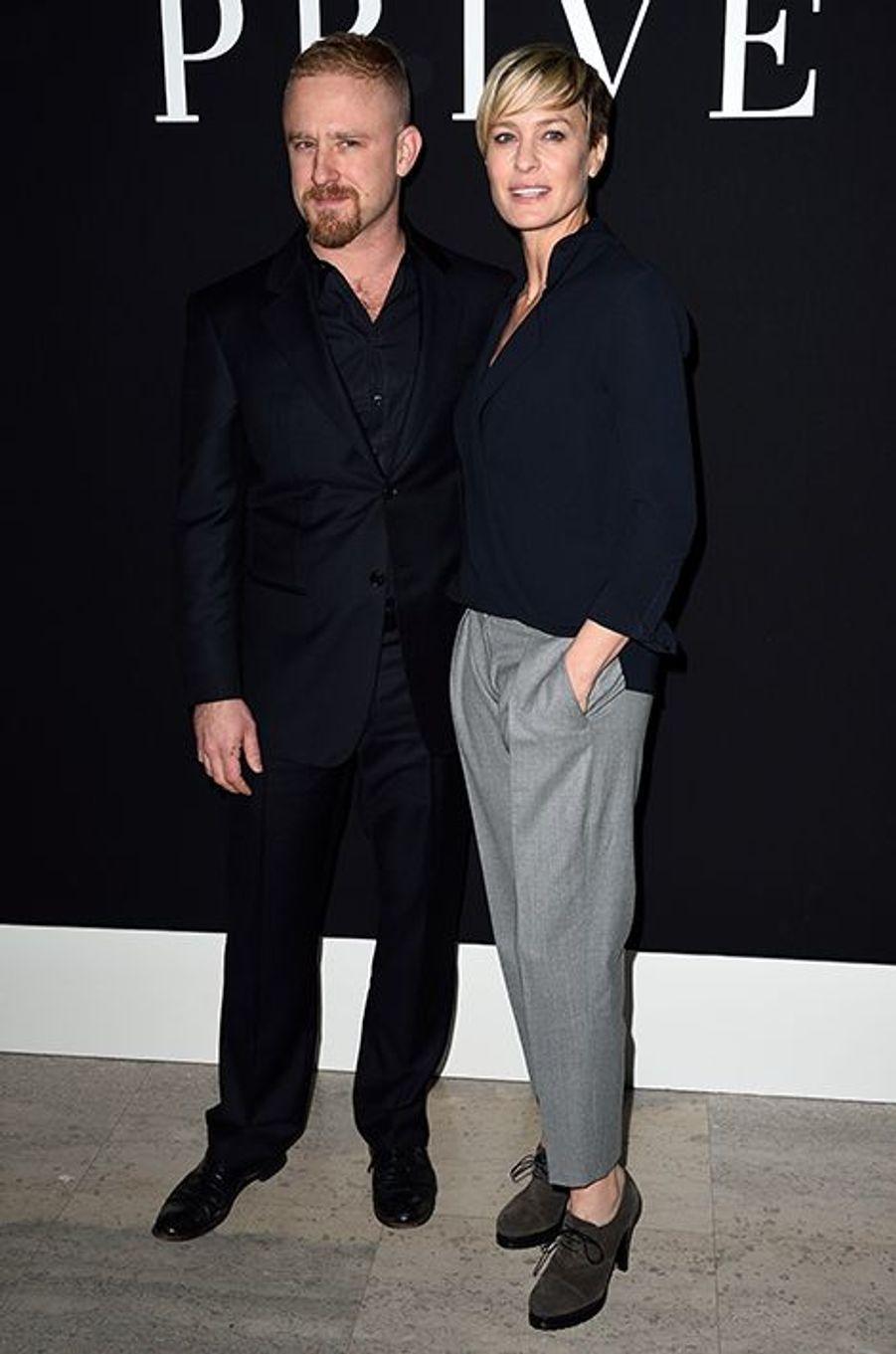 Ben Foster et Robin Wright au défilé Armani Privé le 27 janvier à Paris