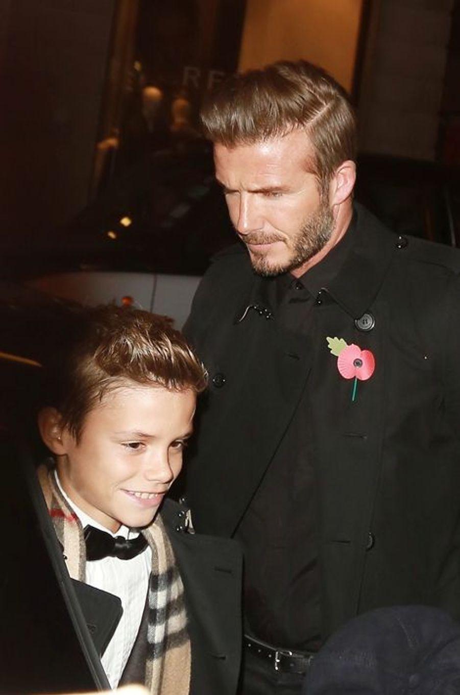 David et Romeo Beckham le 3 novembre à Londres