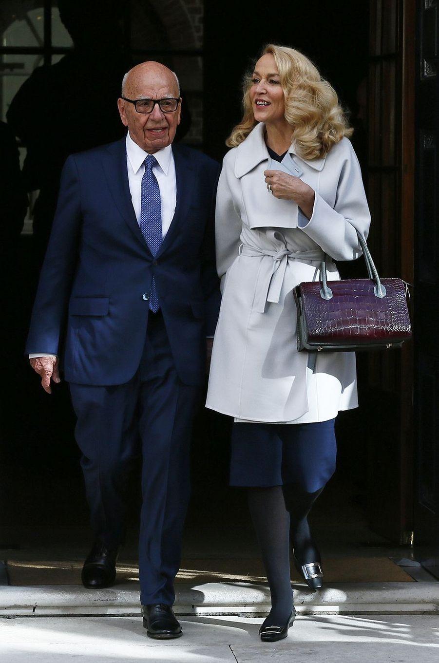 Rupert Murdoch et Jerry Hall à Londres le 4 mars 2016