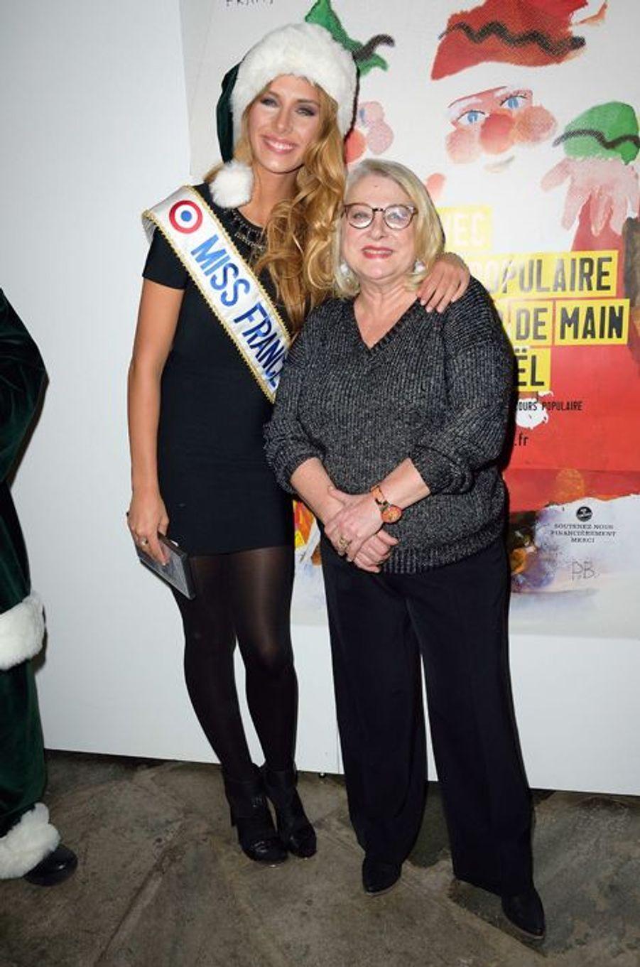 Camille Cerf, Miss France 2015, et Josiane Balasko à Paris le 8 décembre 2014