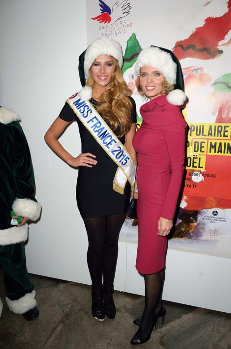 Camille Cerf, Miss France 2015, et Sylvie Tellier à Paris le 8 décembre 2014