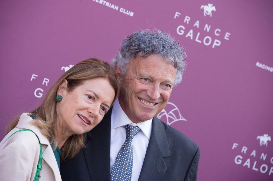 Nelson Monfort et sa femme Dominique au prix Qatar Arc de Triomphe