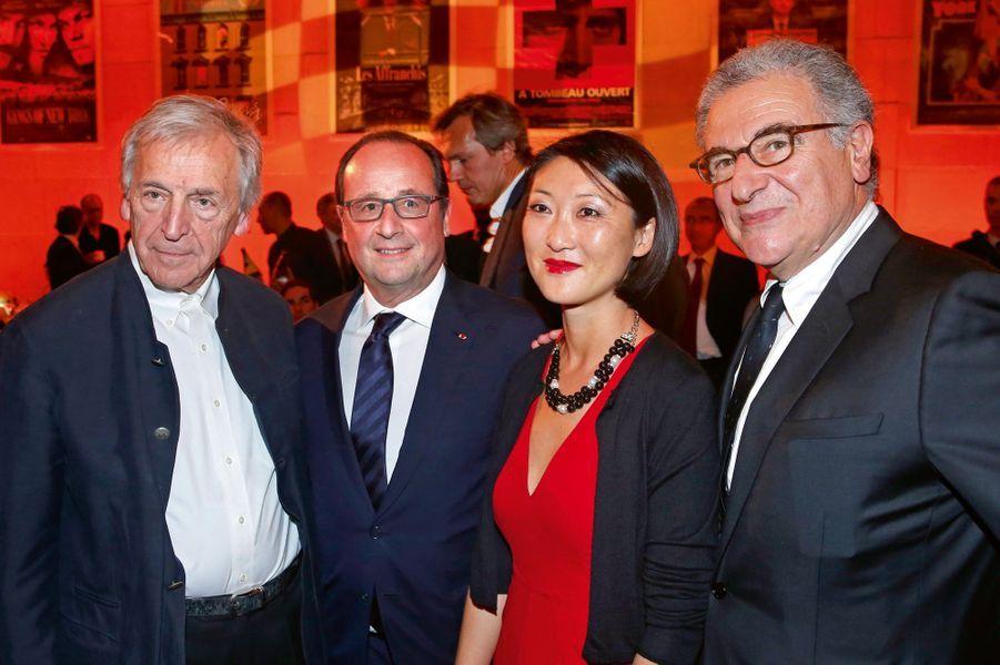 Costa-Gavras, président de la Cinémathèque française, François Hollande, Fleur Pellerin, Serge Toubiana, directeur général de la Cinémathèq...