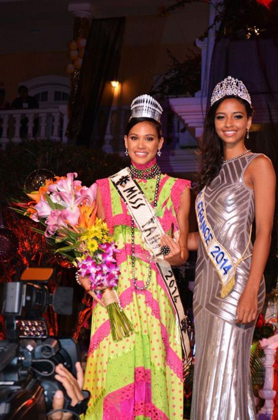 Flora Coquerel à l'élection de Miss Tahiti à Papeete, le 29 juin 2014