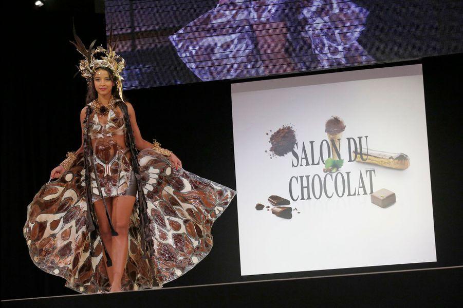 Flora Coquerel au Salon du chocolat à Paris, le 28 septembre 2014
