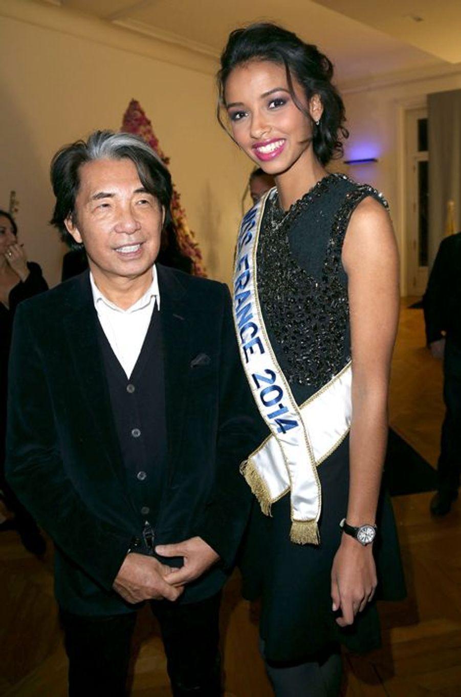 Flora Coquerel, avec Kenzo Takada, à la 18ème édition des Sapins de Noël des créateurs à Paris, le 9 décembre 2013