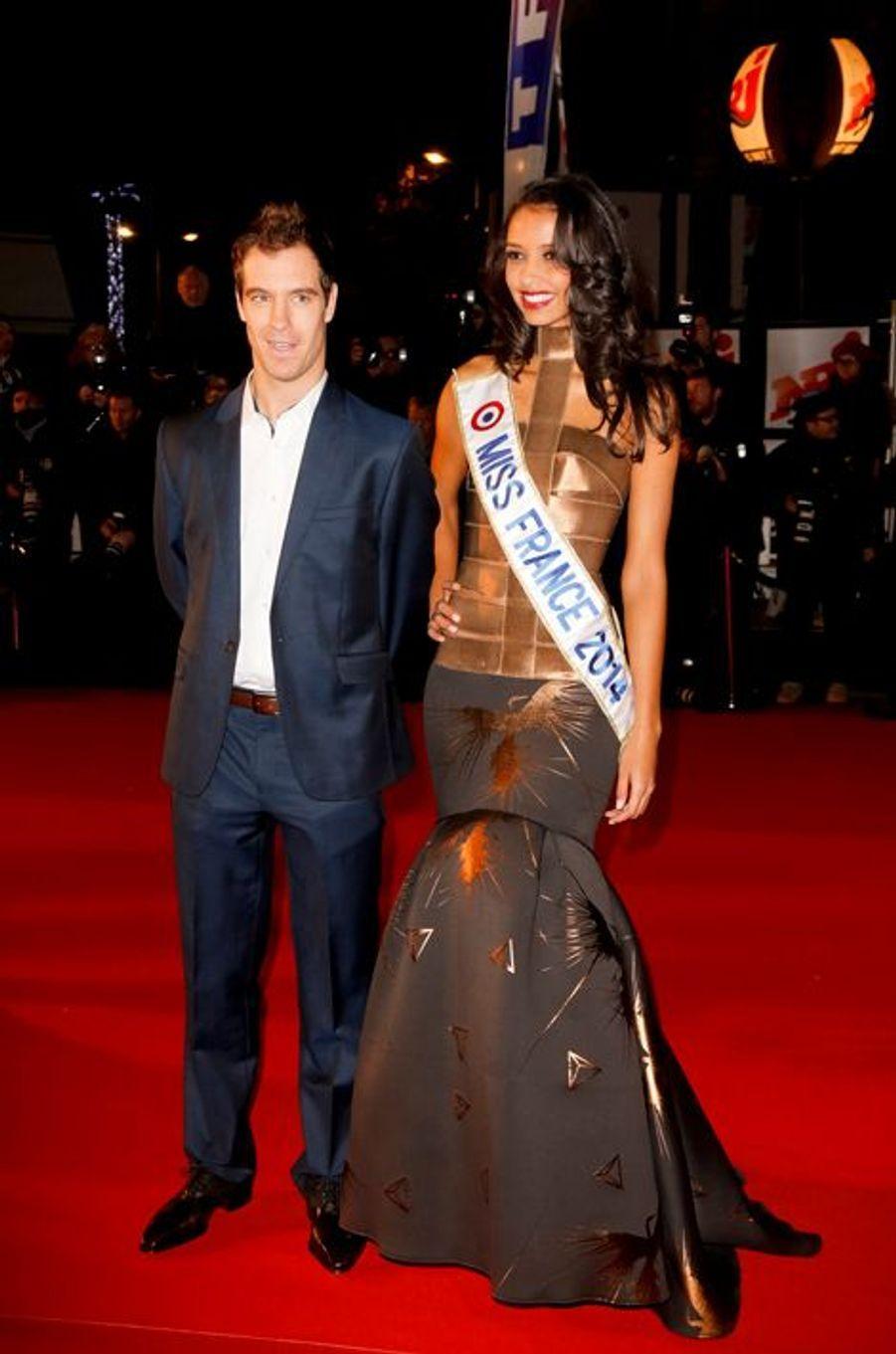 Flora Coquerel, avec Richard Gasquet, aux NRJ Music Awards à Cannes, le 14 décembre 2013