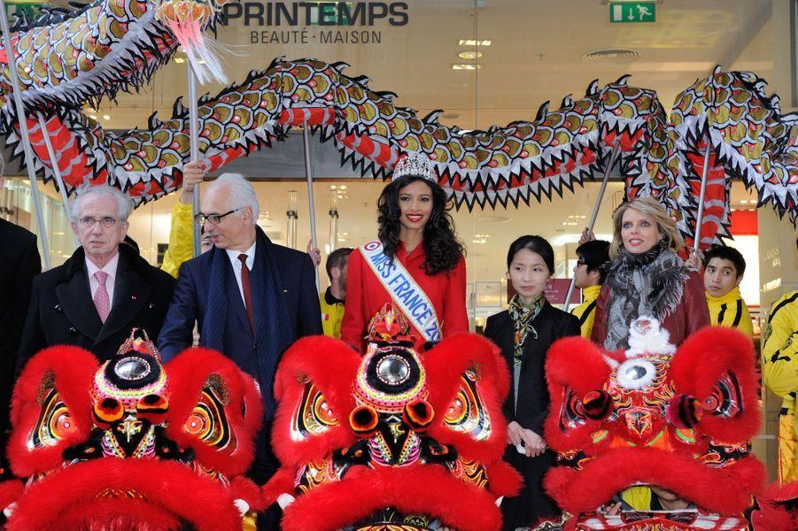Flora Coquerel fête le Nouvel An chinois à Paris, le 5 février 2014