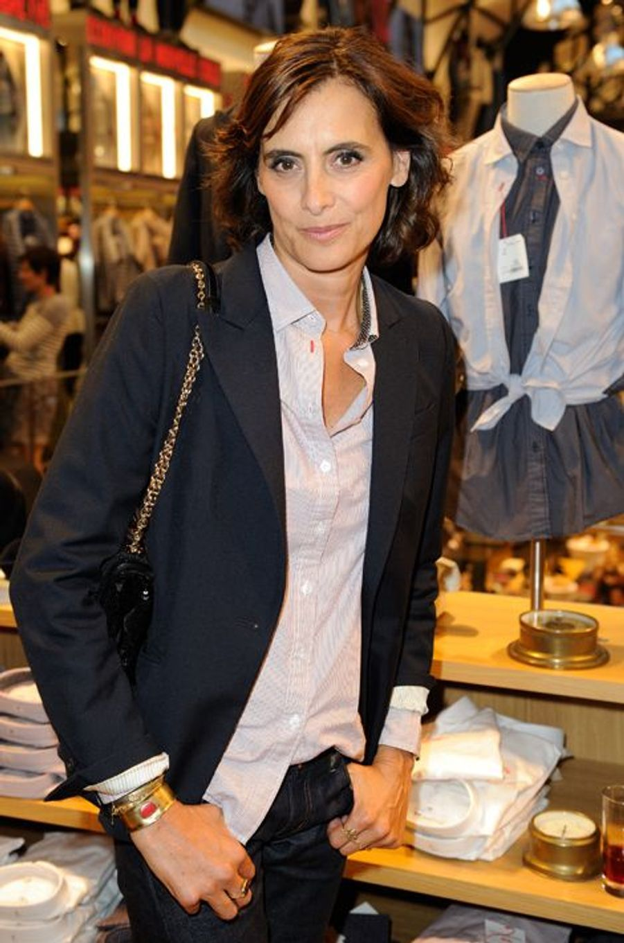 Inès de la Fressange lors du lancement de sa collection Uniqlo à Paris, le 3 septembre 2014.