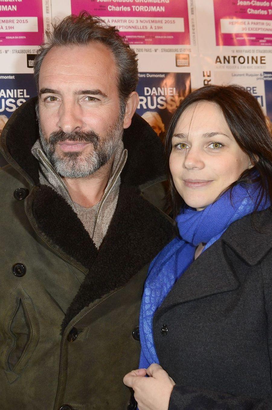 Jean Dujardin et Nathalie Péchalat à Paris le 21 mars 2016