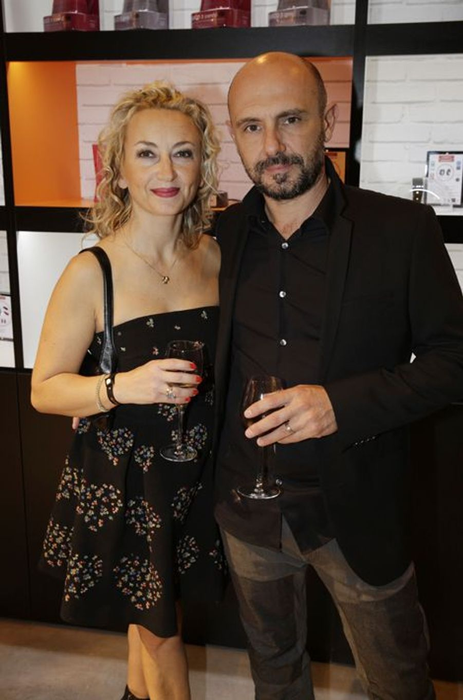 Christelle Chollet et son mari au Salon de l'Automobile 2014 à Paris le 2 octobre 2014