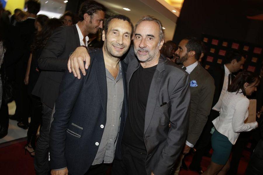 Zinedine Soualem et Antoine Duléry au Salon de l'Automobile 2014 à Paris le 2 octobre 2014