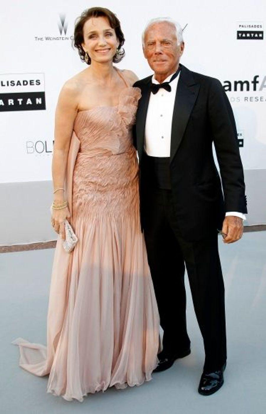 Kristin Scott Thomas et Giorgio Armani, à leur arrivée.