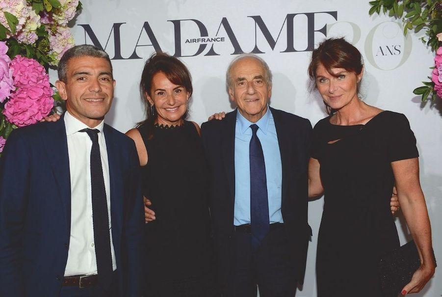 """Ramzi Khiroun, Constance Benqué, présidente de """"Elle"""", Jean-Pierre Elkabbach, Caroline Pois, DG déléguée Lagardère."""