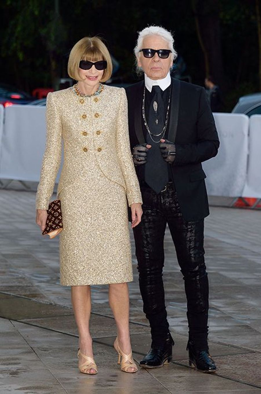 Anna Wintour et Karl Lagerfeld à l'inauguration de la Fondation Louis Vuitton le 20 octobre 2014 à Paris