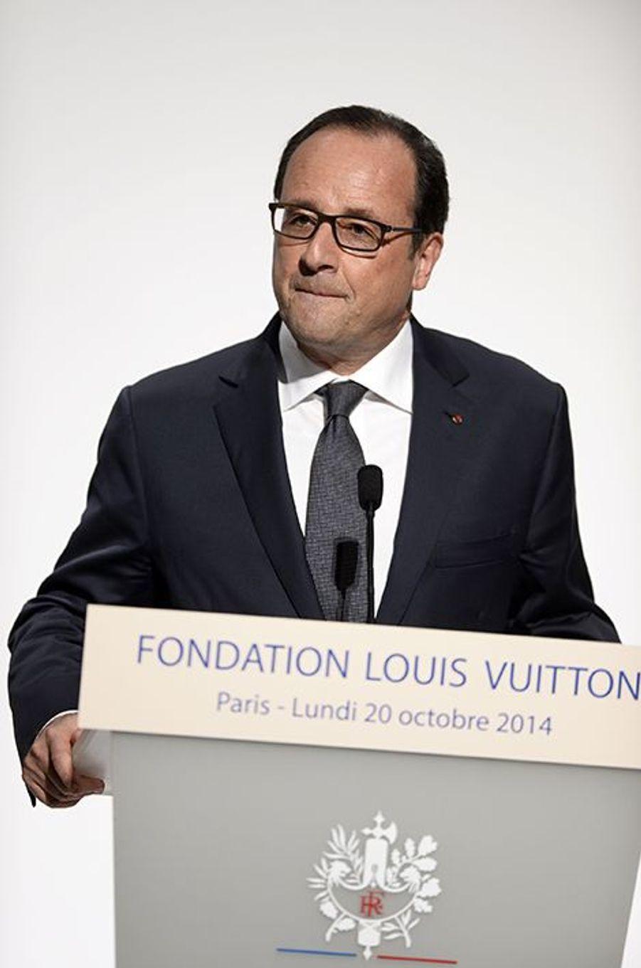 François Hollande à l'inauguration de la Fondation Louis Vuitton le 20 octobre 2014 à Paris