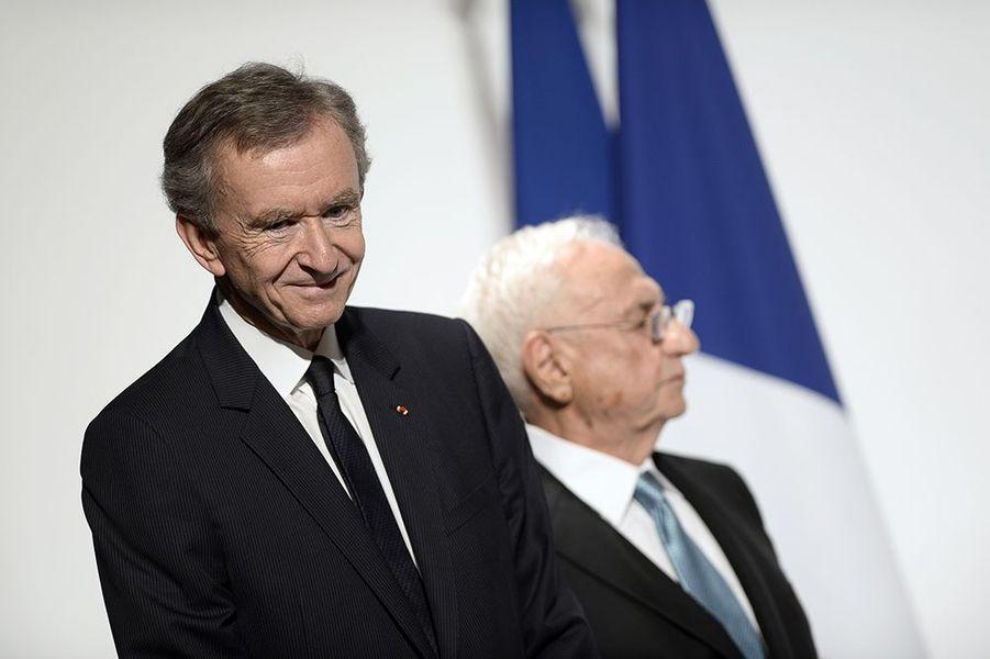 Frank Gehry et Bernard Arnault à l'inauguration de la Fondation Louis Vuitton le 20 octobre 2014 à Paris