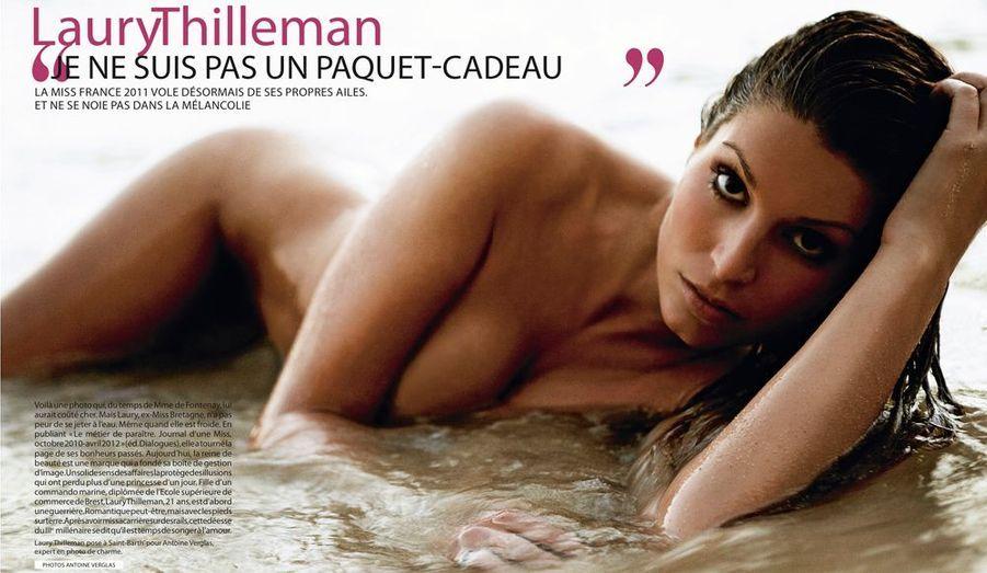 À la suite de la parution de photos dénudées dans Paris Match durant l'été 2012, Laury Thilleman avait été destituée de son titre de Miss France pendant quelques mois.