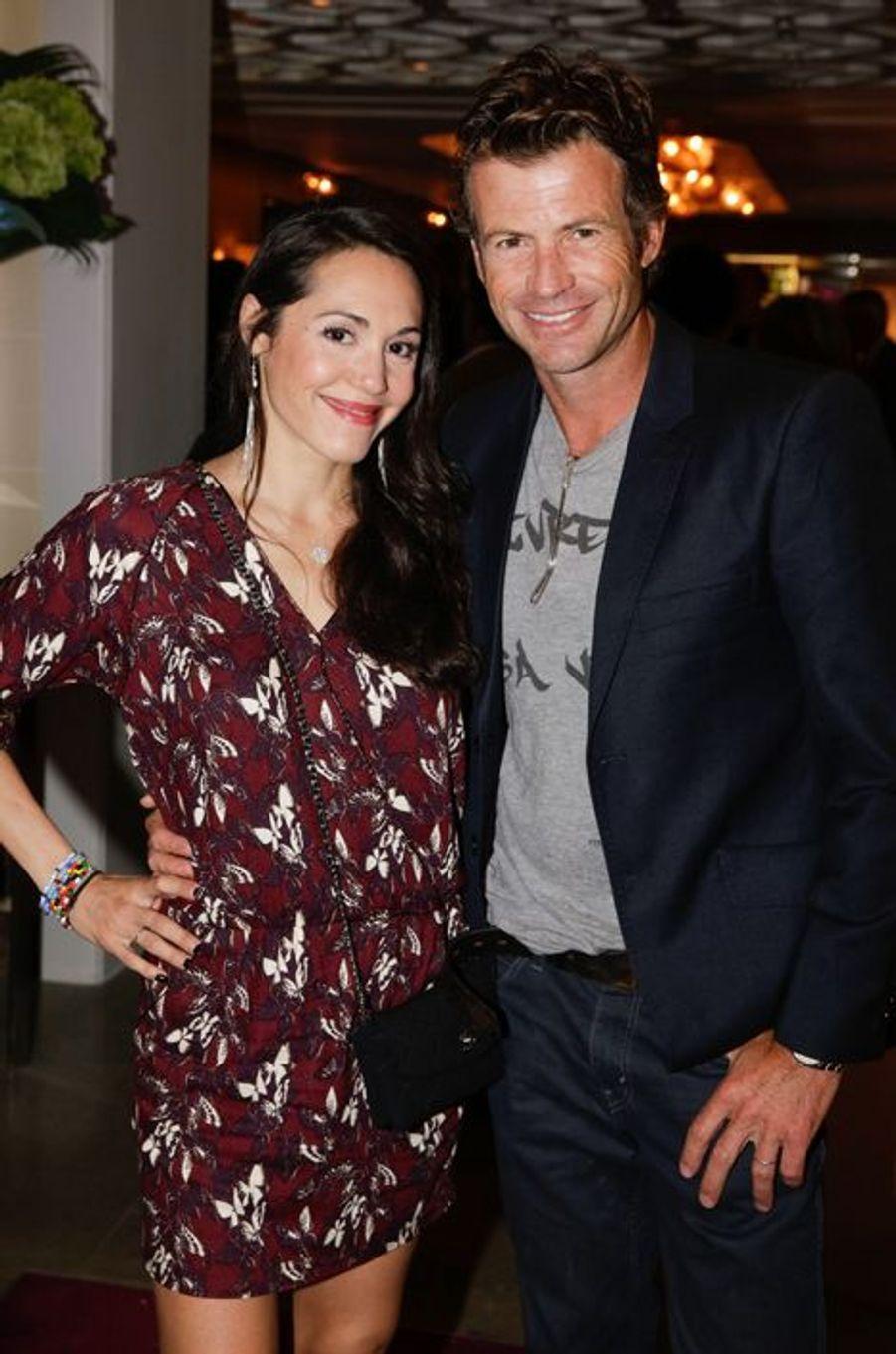 Candice Hugo et Christophe Dardeau au 10e anniversaire de l'Hôtel de Sers à Paris, le 10 septembre 2014.