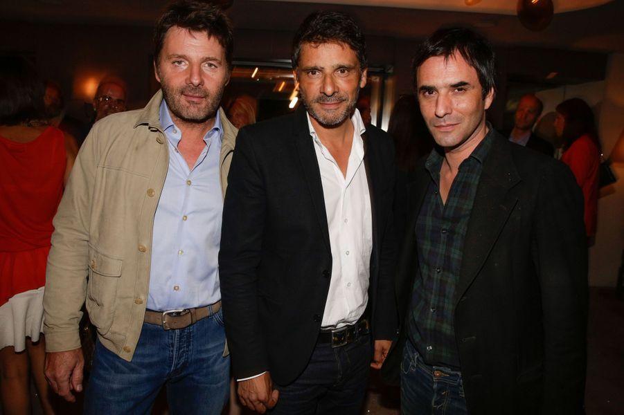 Philippe Lellouche, Pascal Elbé et Samuel Benchetrit au 10e anniversaire de l'Hôtel de Sers à Paris, le 10 septembre 2014.