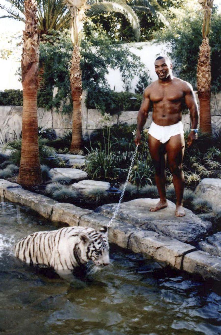 Mike Tyson dans sa propriété privée de Los Angeles avec son tigre Kenya