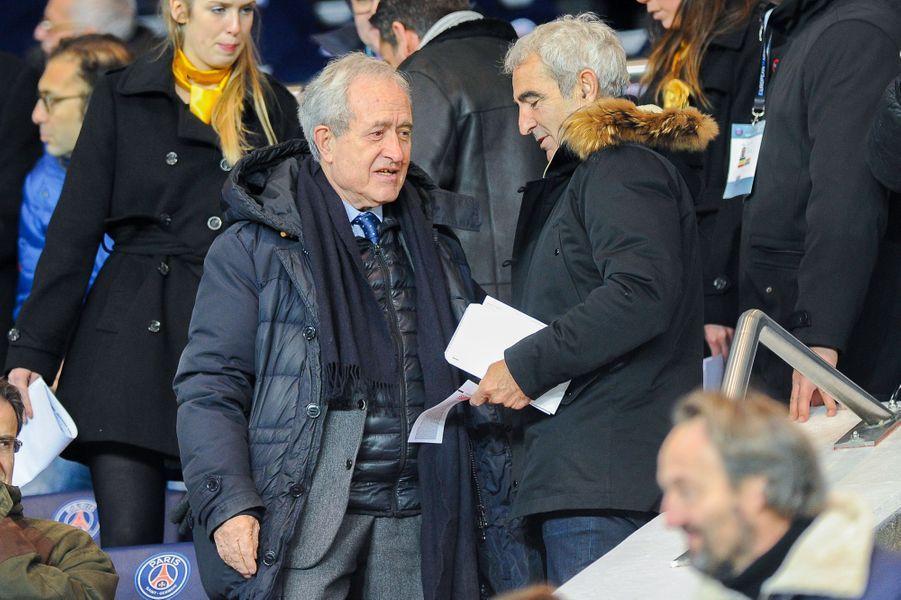 Jean Tiberi et Raymond Domenech lors de la rencontre du PSG et des Girondins de Bordeaux