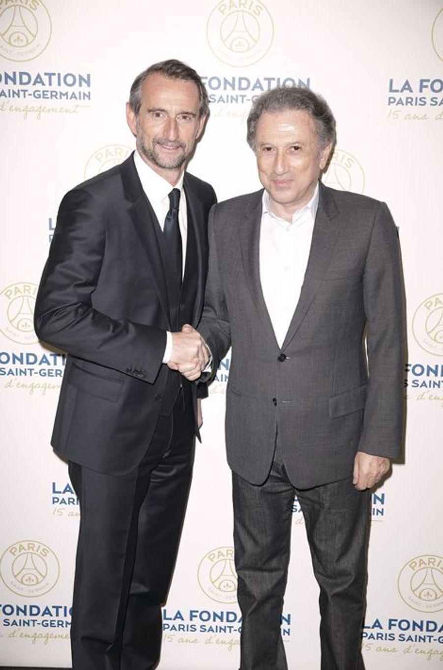 Michel Drucker et Jean-Claude Blanc au gala de la Fondation PGS
