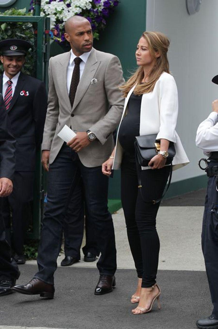Thierry Henry et sa compagne, Andrea Rajacic, à Londres le 12 juillet 2015