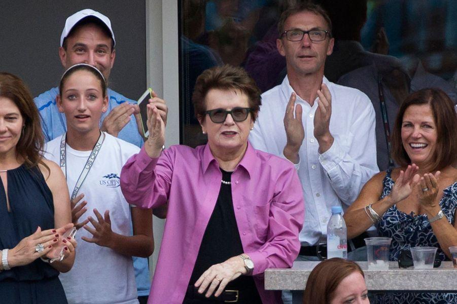 Billie Jean King dans les tribunes du stade qui porte son nom lors de l'US Open mercredi dernier.