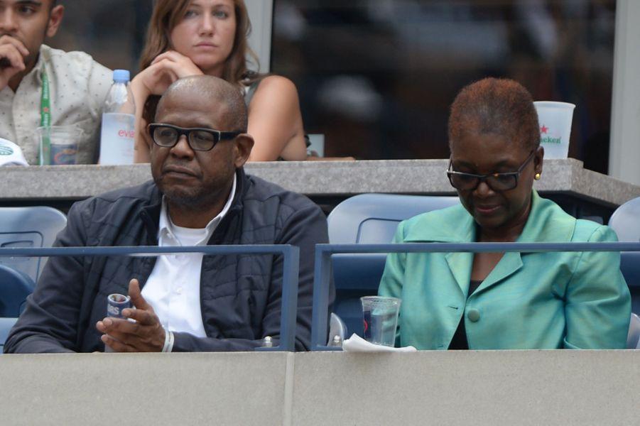 Forest Whitaker, l'acteur du film « Le Majordome », lors du match Roger Federer Vs Leonardo Mayer mardi dernier.