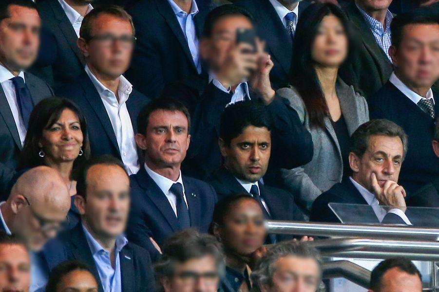 Anne Hidalgo, Manuel Valls, Nasser Al-Khelaïfi et Nicolas Sarkozy à Paris le 15 avril 2015