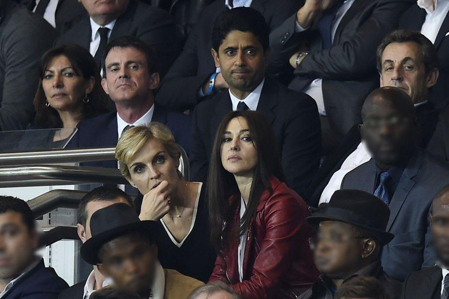 Anne Hidalgo, Manuel Valls, Nasser Al-Khelaïfi, Nicolas Sarkozy, Mélita Toscan du Plantier et Monica Bellucci à Paris le 15 avril 2015