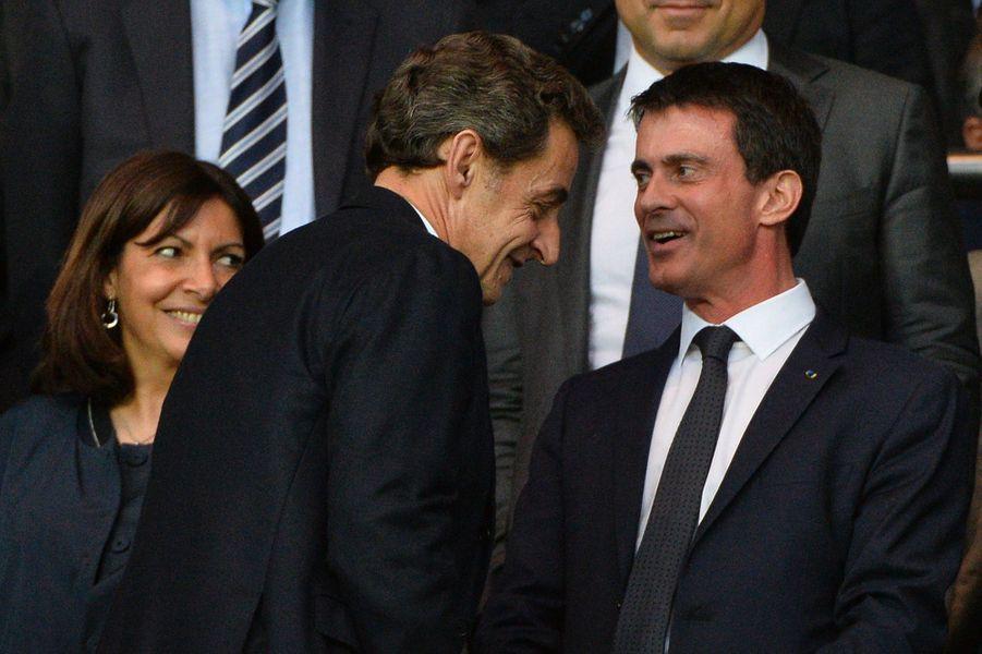 Anne Hidalgo, Nicolas Sarkozy et Manuel Valls à Paris le 15 avril 2015