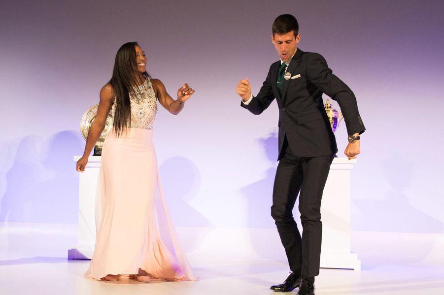 Serena Williams et Novak Djokovic à Londres le 12 juillet 2015