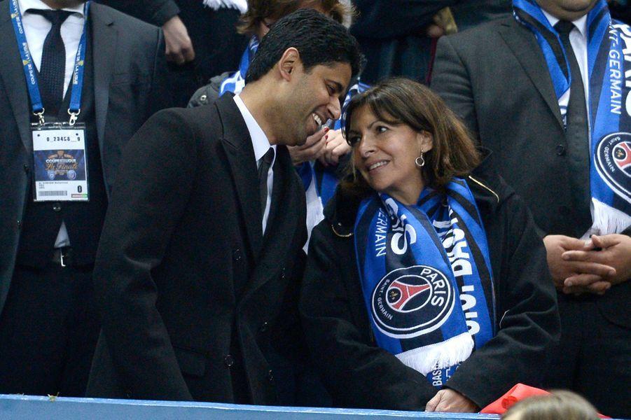 Anne Hidalgo avec Nasser Al Khelafi au Stade de France, le 11 avril 2015