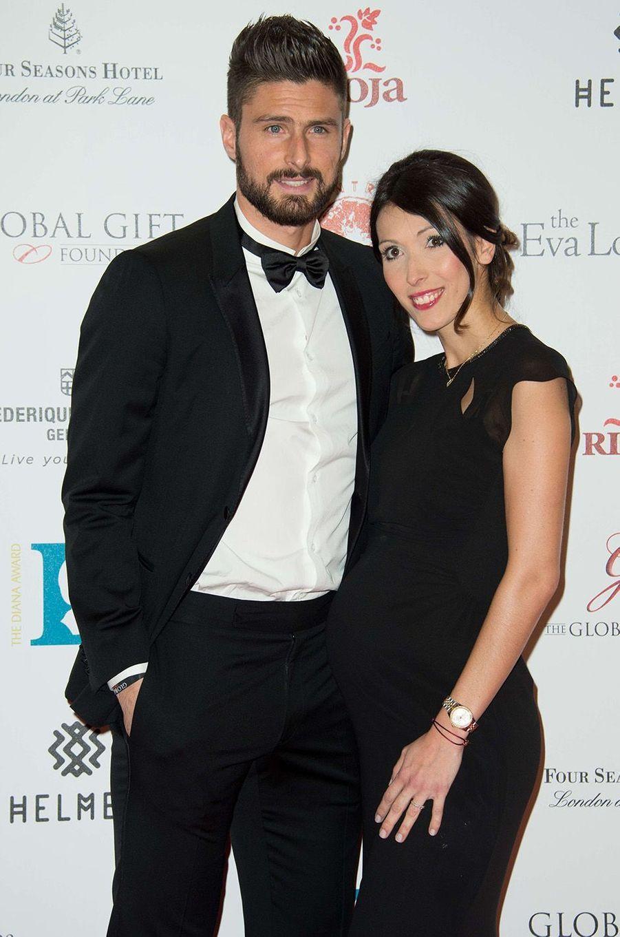 Olivier et Jennifer Giroud à Londres en novembre 2015.