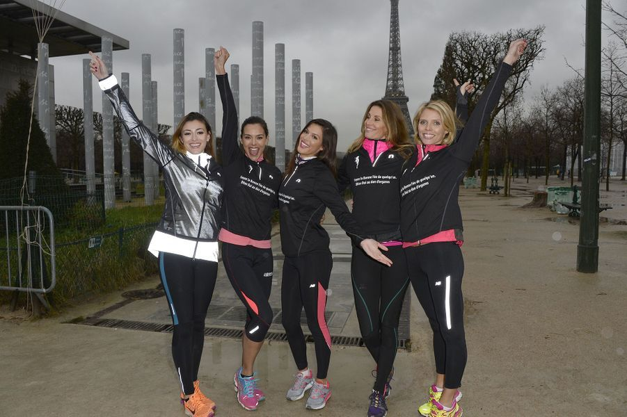 Rachel Legrain-Trapani, Marine Lorphelin, Iris Mittenaere, Sophie Thalmann et Sylvie Tellier à Paris le 30 mars 2016