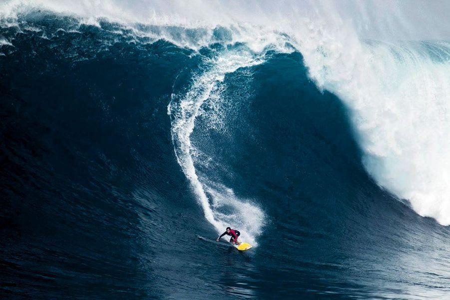 En paddle à Peahi, la plage de Hawaii surnommée « Jaws » pour ses vagues géantes, janvier 2016.