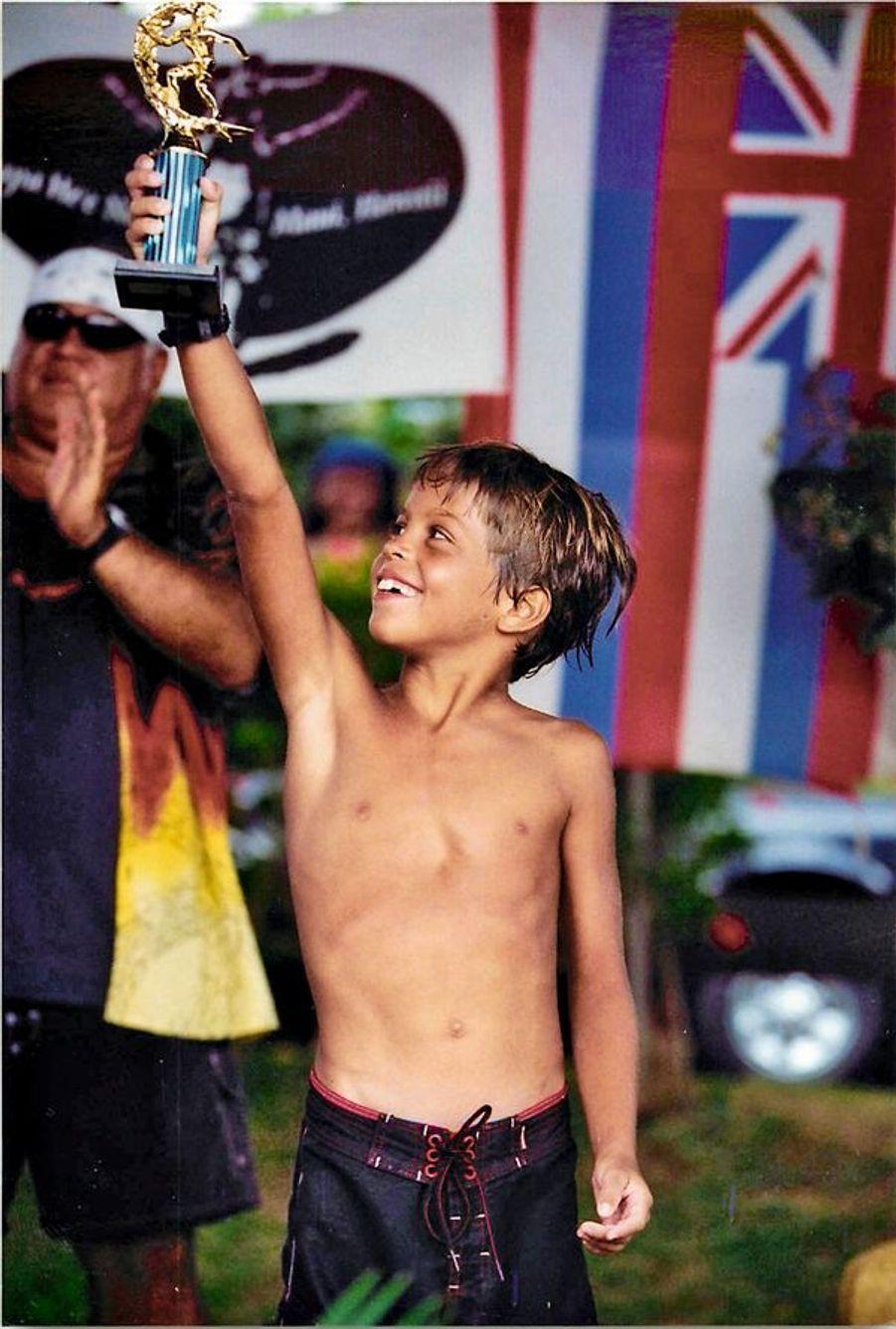 Son tout premier trophée, à 8 ans.