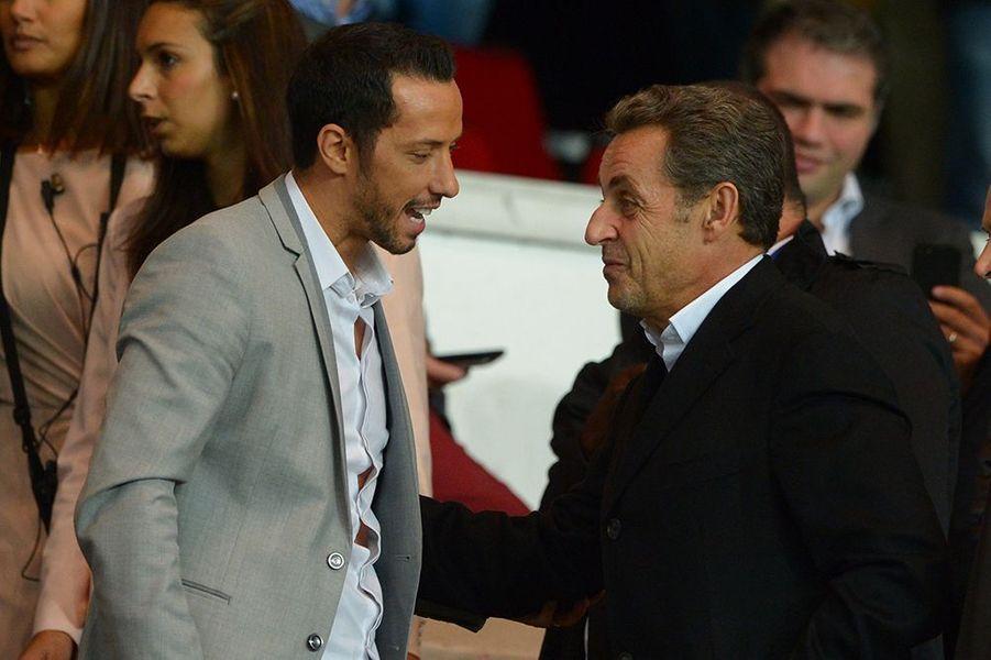 Luis Nenê et Nicolas Sarkozy au Parc des Princes le dimanche 5 octobre 2014
