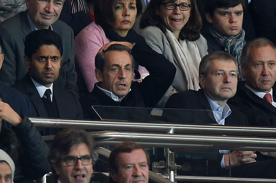 Nasser Al-Khelaïfi, Nicolas Sarkozy et Dmitry Rybolovlev au Parc des Princes le dimanche 5 octobre 2014