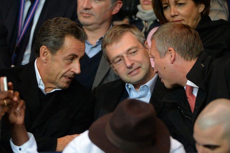 Nicolas Sarkozy et Dmitry Rybolovlev au Parc des Princes le dimanche 5 octobre 2014