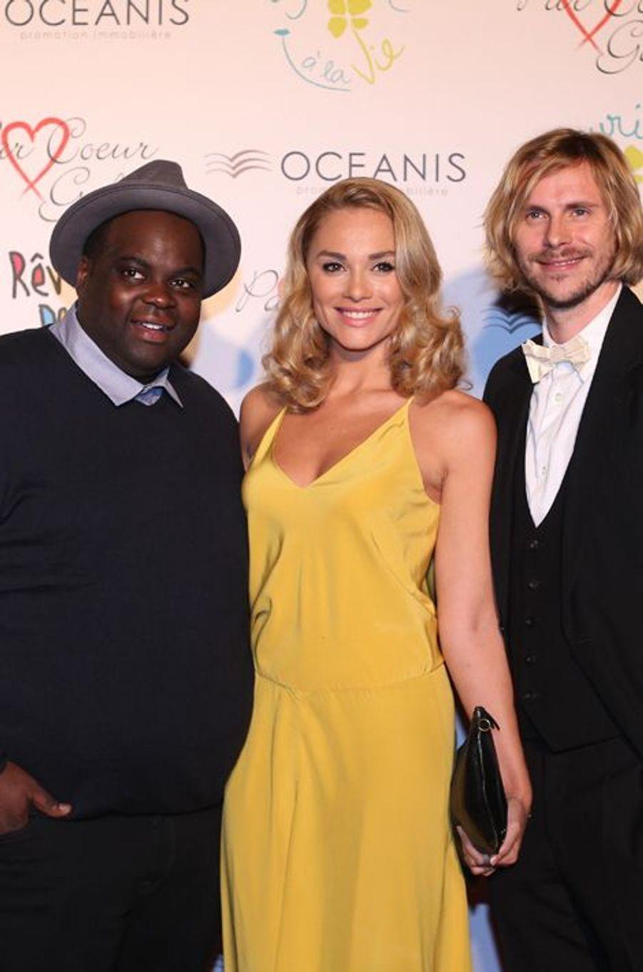 Issa Doumbia, Joy Esther, Issa Doumbia et Jean-Baptiste Shelmerdine au 9ème «Parc Cœur Gala» à Lyon, le 25 septembre 2014.