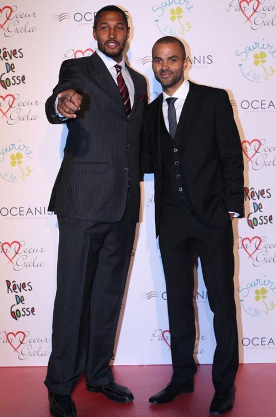 Tony Parker et Boris Diaw au 9ème «Parc Cœur Gala» à Lyon, le 25 septembre 2014.
