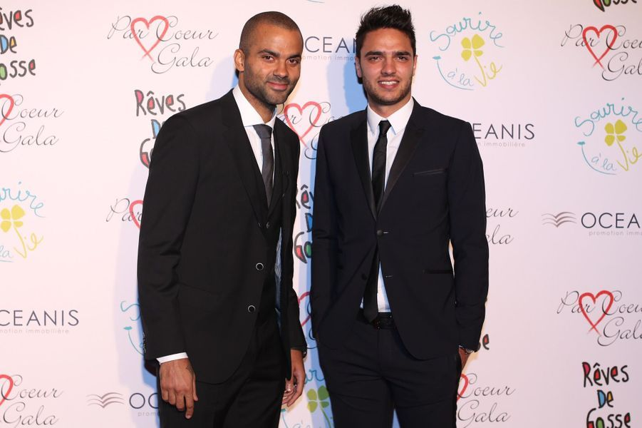 Tony Parker et Clément Grenier au 9ème «Parc Cœur Gala» à Lyon, le 25 septembre 2014.