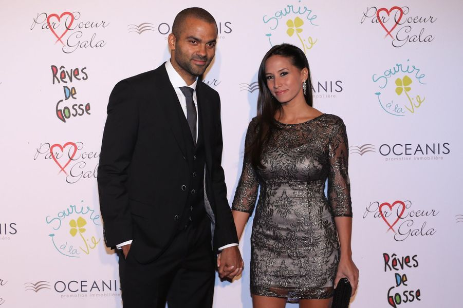 Tony Parker et sa femme Axelle Francine au 9ème «Parc Cœur Gala» à Lyon, le 25 septembre 2014.