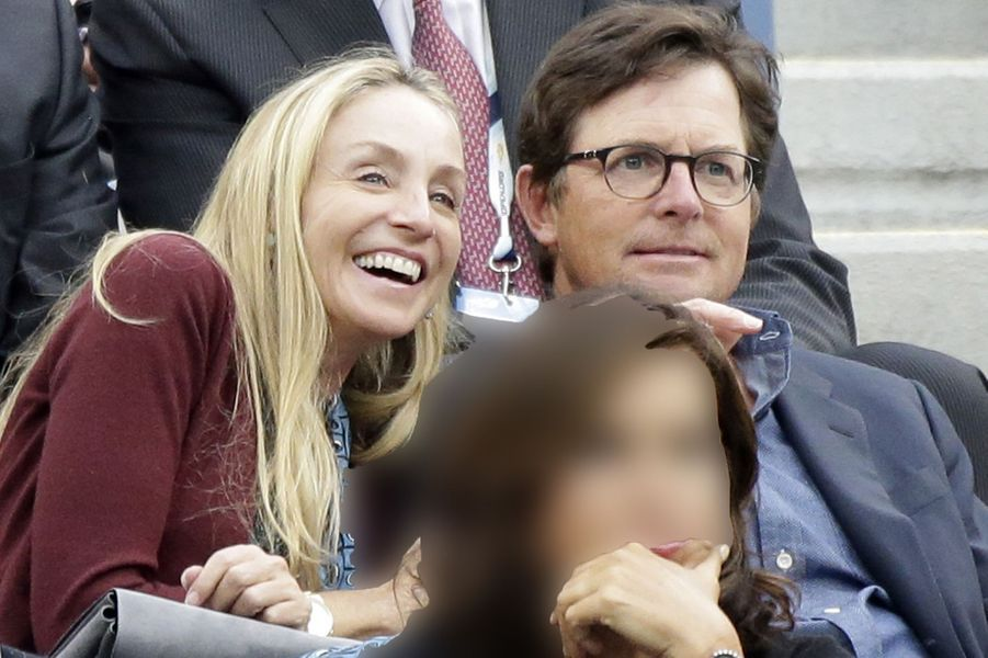 Michael J. Fox and Tracy Pollan à la finale de l'US Open à New York, le 8 septembre 2014.