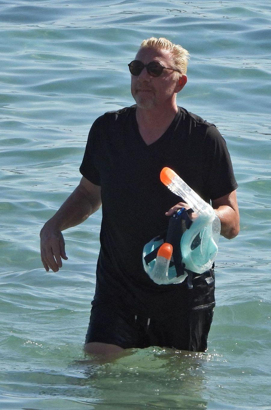 Boris Becker avec ses enfants à Ibiza le 7 août 2020
