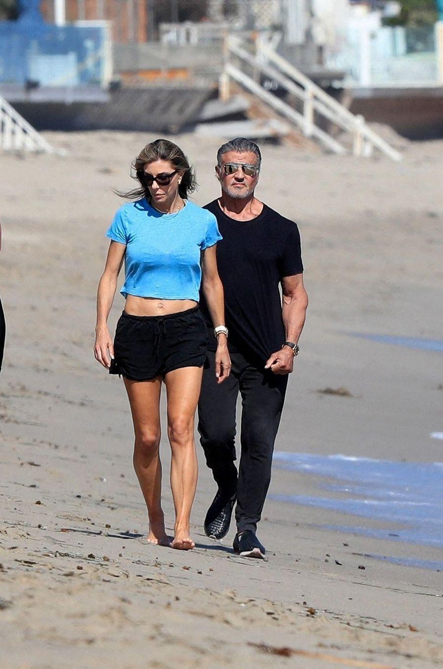 Sylvester Stallone et son épouse Jennifer à Malibu le 7 août 2020